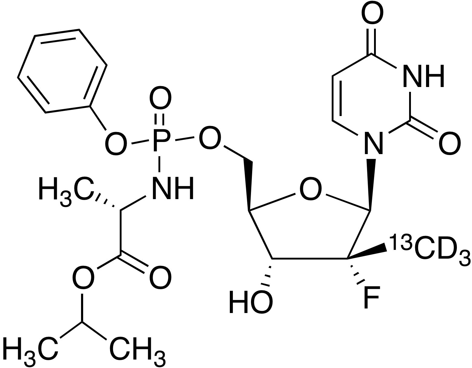 Sofosbuvir-<sup>13</sup>C, d<sub>3</sub>