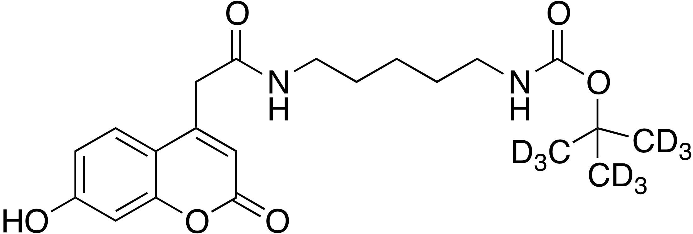 tert-Butyl-d<sub>9</sub> 5-(7-hydroxy-coumarin-4-acetamido)pentyl carbamate