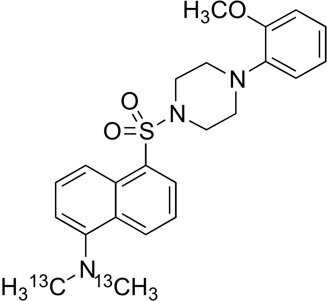 N-Dansyl-<sup>13</sup>C<sub>2</sub>-1-(2-methoxyphenyl)piperazine