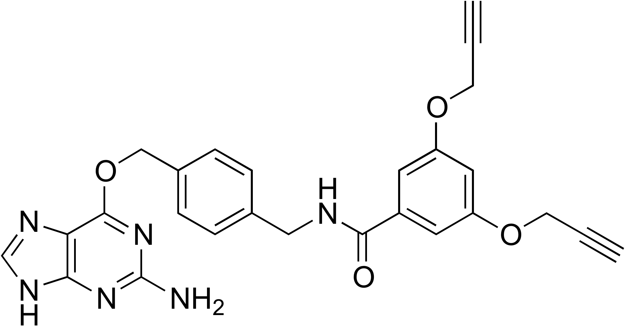 N-(4-((2-Amino-9H-purin-6-yloxy)methyl)benzyl)-3,5-bis(prop-2-ynyloxy)benzamide