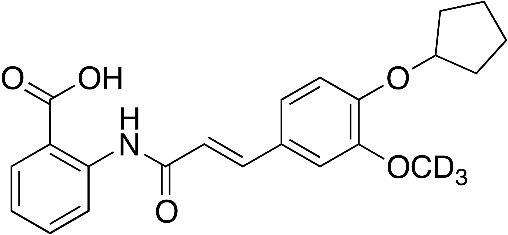 (E)-2-{[3-(4-Cyclopentyloxy-3-methoxy-d<sub>3</sub>-phenyl)-1-oxo-2-propenyl]amino}benzoic acid
