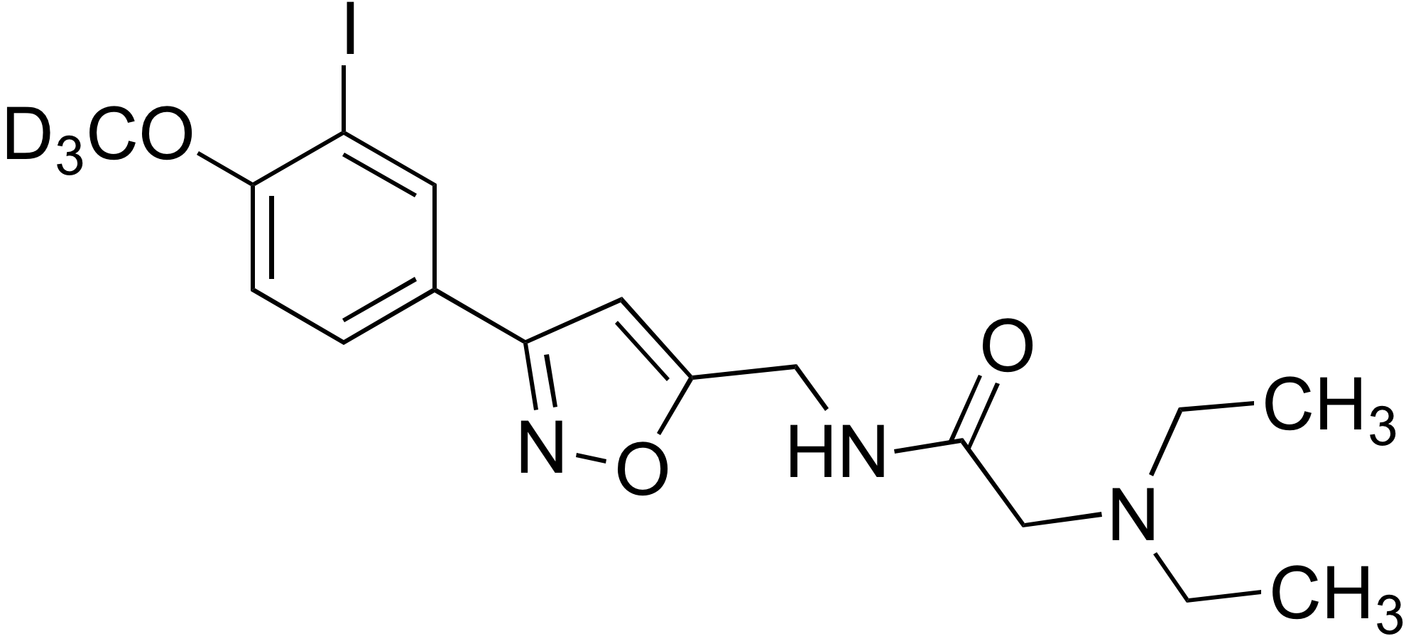 N-((3-(3-Iodo-4-methoxy-d<sub>3</sub>-phenyl)isoxazol-5-yl)methyl)-2-(diethylamino)ethanamide